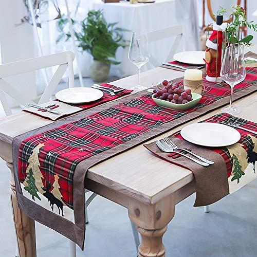 Camino de mesa navideño, 1,8 m de doble capa, cuadros escoceses, manteles decorativos, manteles, mesa, aspecto tradicional, mantel rústico para decoración navideña, cena familiar, fiesta navideña