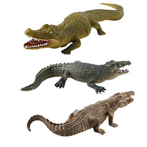 AUCOOMA 3PCS Safari Animal Figurines Set, Toy Animals for Kids, Crocodile Animal Figures