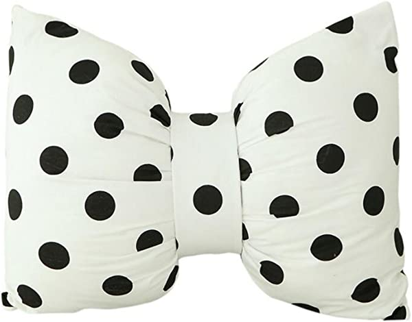 Dongcrystal Black Polka Dot Bowknot Pillow Sofa Decorative Cushions
