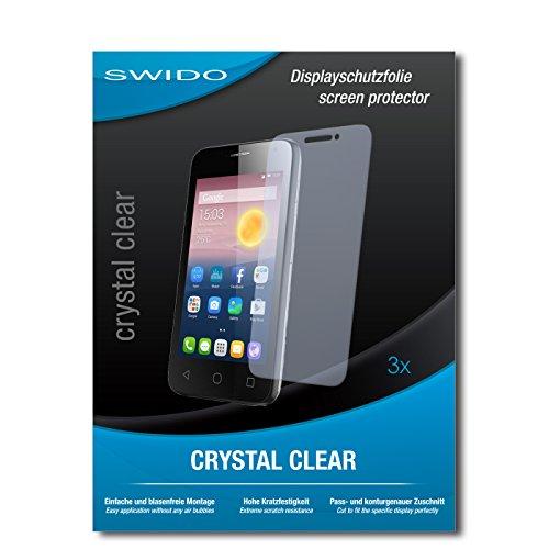 SWIDO Bildschirmschutzfolie für Alcatel Pixi First [3 Stück] Kristall-Klar, Extrem Kratzfest, Schutz vor Öl, Staub & Kratzer/Glasfolie, Bildschirmschutz, Schutzfolie, Panzerfolie