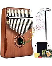 Kalimba duimpiano 17 toetsen draagbare duimpiano Massief houten metalen instrument voor muziekliefhebbers Kinderen Volwassenen Beginners met tas en stemhamer en leerinstructies