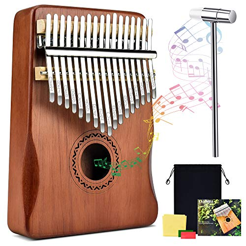 Kalimba Daumenklavier, 17 Schlüssel Tragbares Thumb Piano Massivholz Metall Instrument für Musikliebhaber Kinder Erwachsene Anfänger, mit Beutel und Stimmhammer und Lernanleitung