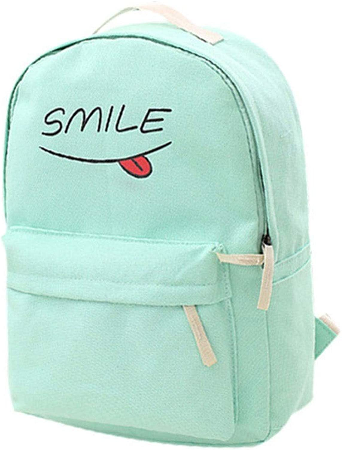 ZHIZUCHANGLE Tide cartoon backpack of the middle school student bag large capacity travel backpack college wind computer bag leisure bag,Canvas Smiling Face Backpack Rucksack School Satchel Hiking Bag