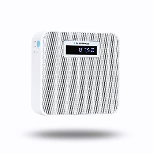 BLAUPUNKT PRB 100, UKW Steckdosenradio mit Bluetooth, Freisprecheinrichtung, 10 Stunden Akku Laufzeit, Powerbank, kleines Plug In Radio, USB Ladestecker, AUX IN, UKW Radio für die Steckdose, weiß