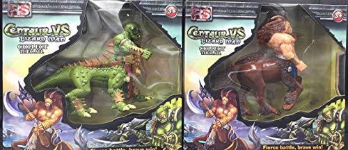 ML Pack de 2 Figuras fantasticas muñecos Centaur vs Lizard Man Juguetes para niños, Juguetes de Anime Modelo de Personaje, Adulto Niños Juguete Adornos de Personajes de Dibujos Animados