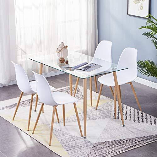 GOLDFAN Moderne Küche Rechteckig Esstisch Glas mit 4 Weiß Stühlen Mit Metallbeinen Geeignet für Esszimmer Büro Wohnzimmer