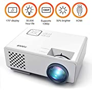 Beamer, FUNAVO RD-815 Projektoren LED Miniprojektor für Multimedia Heimkinos, Unterstützt 1080P, Laptops, Smartphones, Amazon Fire TV Sticks & DVDs per HDMI, USB, VGA & AV - Weiß