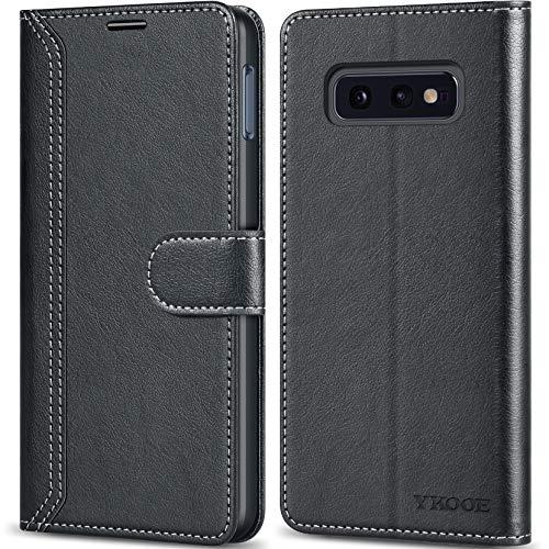 ykooe Handyhülle für Samsung Galaxy S10e Hülle, Schwarz Leder Schutzhülle für Samsung Galaxy S10e Flip Case Tasche