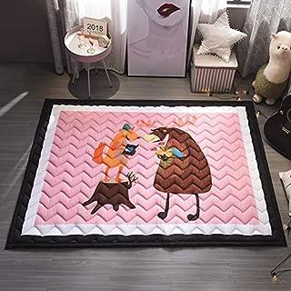 Baby Kids Play Mat Cotton Crawling Cushion, Kids Room Rug Floor Gym, Non-Toxic Non-Slip Washable Reversible Room Decor Floor Rug, Activity Floor Carpet (Cow&Fox)