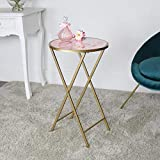 Melody Maison Mesa auxiliar de mármol dorado y rosa