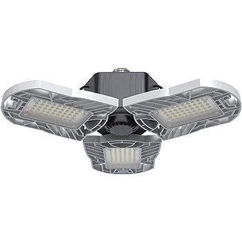 LED Garage Lights E26/E27 60W Panels Adjustable Trilights Garage Lights 6000lm Ceiling Light for Workshop Warehouse (No Motion Activate)