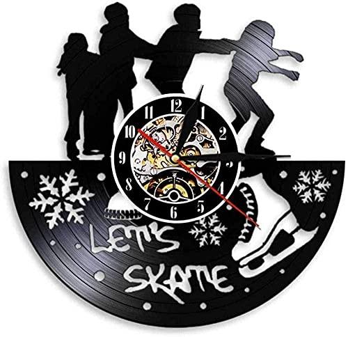 KDBWYC Freestyle Club de Patinaje Decoración de Patinaje Reloj de Pared Retro Disco de Vinilo Reloj de Pared Patinaje Pie Reloj acústico