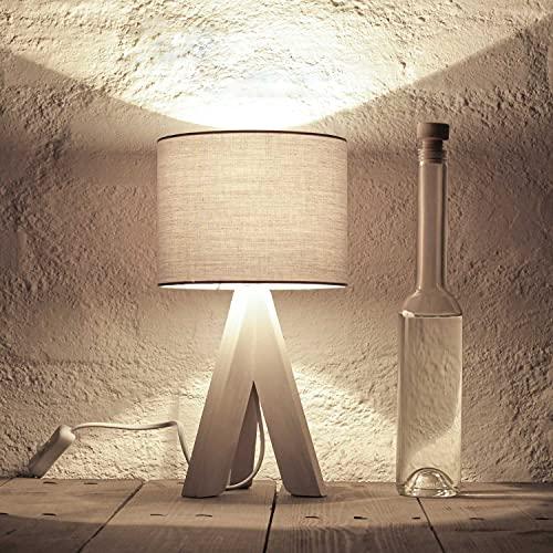 Bauhaus Stil Tischleuchte mit Holzfuß und grauem Stoffschirm E14 mit Kabelschalter Nachttischlampe Nachtleuchte für Schlafzimmer Wohnzimmer Leselicht