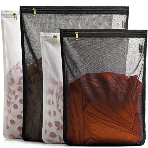TENRAI 4 confezioni (2 grandi e 2 medi) sacchetti delicati per bucato, reggiseno a rete fine, con cerniera, proteggere i migliori vestiti nella lavatrice (2 neri e 2 bianchi, set di 4)