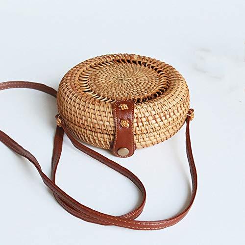 Regalos de cuero mujeres del hombro tejida a mano Tejido de mimbre mensajero del bolso redondo rota bolsa de correas Natural Chic bolso de la playa bolsas hechas a mano