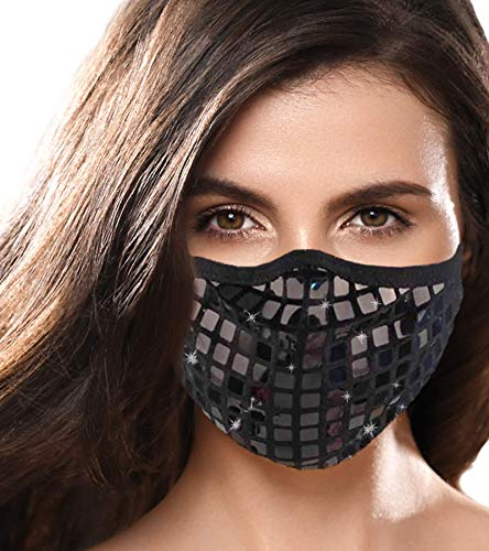 Designer Cute Face Masks for Women - Girls Bling Fancy Sequence Washable Bedazzled Masks for Dust Protection - Fashion Cloth Sequin Shiny Face Mask (Black) …