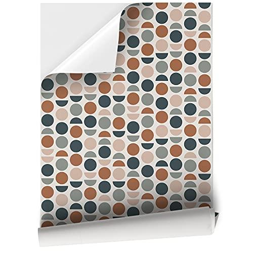 Vinilo Adhesivo para Muebles y Pared, 44.5 x 200 cm, Puntos de Colores, Fondo Beige, VNL-017