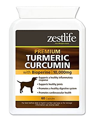 Zestlife Turmeric for Dogs 500mg extract equivalent to 10,000mg. supplement for joint and hips. 60 Capsules