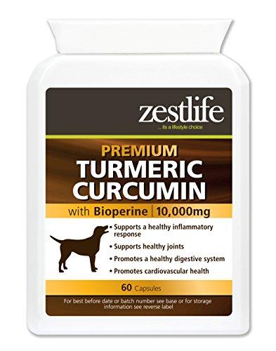 Zestlife Kurkuma voor honden 500 mg extract komt overeen met 10.000 mg. Anti-ontvlambare aanvulling voor gewrichten en heupen. 60 capsules