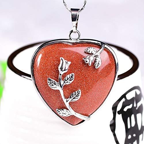 MARKOO 1 Pieza De Piedra Natural, Colgante De Corazón De Cristal, Cuarzo Rosa, Ópalo, Amatista, Moda Colorida, Simple para Hombres Y Mujeres, Joyería