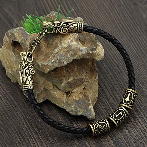 AQzxdc Herren Wikinger Keltischen Drachenkopf Armband, Nordic Odin Rune Perle Leder Manschette Armreif Vintage Amulett Handgefertigten Schmuck,Bronze,23CM