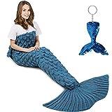 Mermaid Tail Blanket, Amyhomie Mermaid Blanket Adult Mermaid Tail Blanket, Crotchet Kids Mermaid Tail Blanket for Girls (Light-ScaleBlue, Adults)