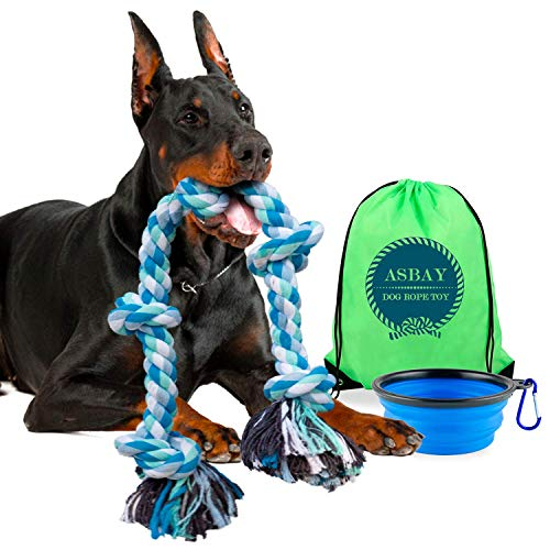 ASBAY Tug of War Dog Toy - Dog Rope Toy - for Aggressive chewers - Dog Tug Toy - Pitbull Toys - Large Dog Toys - Dog Tug of War Toy - Indestructible Dog Toys