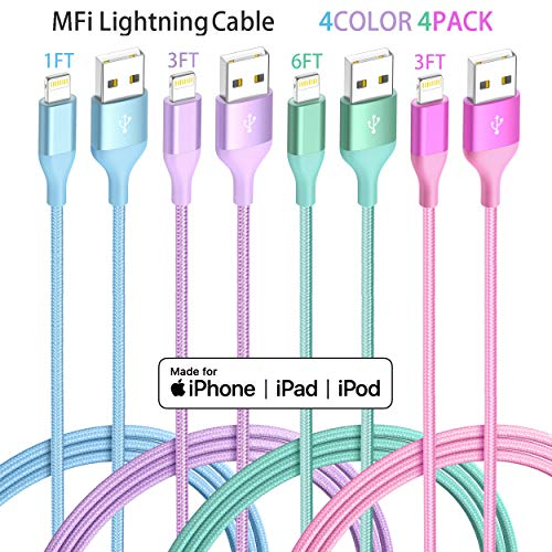 iPhone Charger Lightning Cable 4Pack 4Color Apple MFi Certified Nylon Braided Long Fast USB Cord Compatible for iPhone 11Pro MAX Xs XR X 8 7 6S 6 Plus SE 5S 5C (Blue Green+Red Purple)