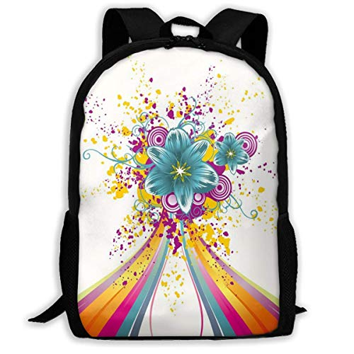 Travel Backpacks,Laptop Computer Bag,Adult Rucksack,Carry Everyday Bookbag,Rainbow Colored Image with Bold Lines and Flowers Buds Blossoms Ivy Artwork Print Women & Men Durable Casual Daypack for Sc