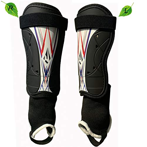 Rawxy Soccer Football shin Guards with Low-Profile Flexible Super Protection,Great for Adult,Youth, Junior (Black/White, M)