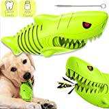 2021 New Squeaky Dog Chew Toys for Aggressive Chewers, Dog Toothbrush Stick, Toughest Natural Rubber Dogs-Teeth Cleaning Toys Dental Oral Care for Medium Large Dogs Puppy Pets (Shark Shape)