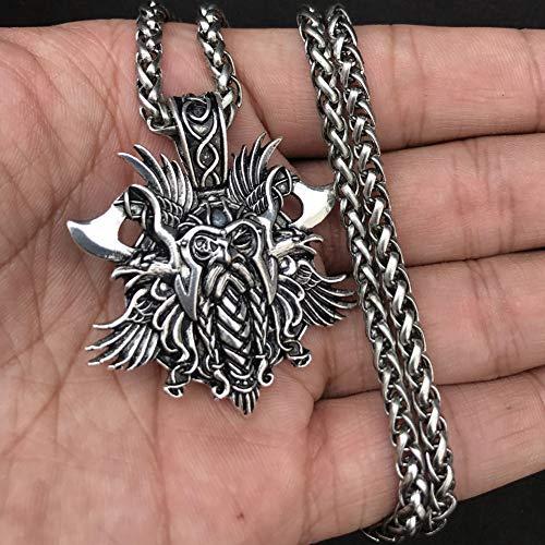 Ellyeall Viking-Kreuz Crow Halskette Nordic Interessanter Schmuck Pagan Amulett Männer Anhänger Mode Antikschmuck Valentinstag,Silber