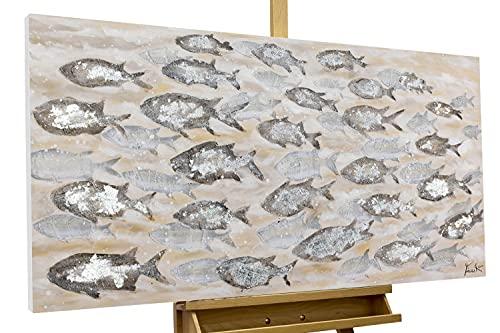 KunstLoft® Acryl-Gemälde 'Standing Strong' 120x60cm | original handgemalte Leinwand Bilder XXL | Fische Grau Schwarm Lachs | Wandbild Acrylbild moderne Kunst einteilig mit Rahmen