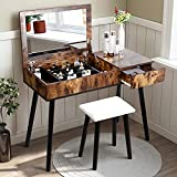 Makeup Vanity Desk - Vanity with Larger Flip Top Mirror, Vanity Table Writing Desk for Home Studio with Bench Big Drawer 9 Compartments, Sturdy Super Easy Assembly (Antique)