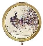 benerini Diseño Decorativo de Pavo Real Espejo Compacto Vintage Metal Efecto de latón - Espejo de Doble Cara con Aumento
