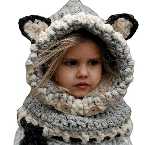 King Star Winter Kids Warm Fox Animal Hats Knitted Coif Hood Scarf Beanies for Autumn Winter Gray