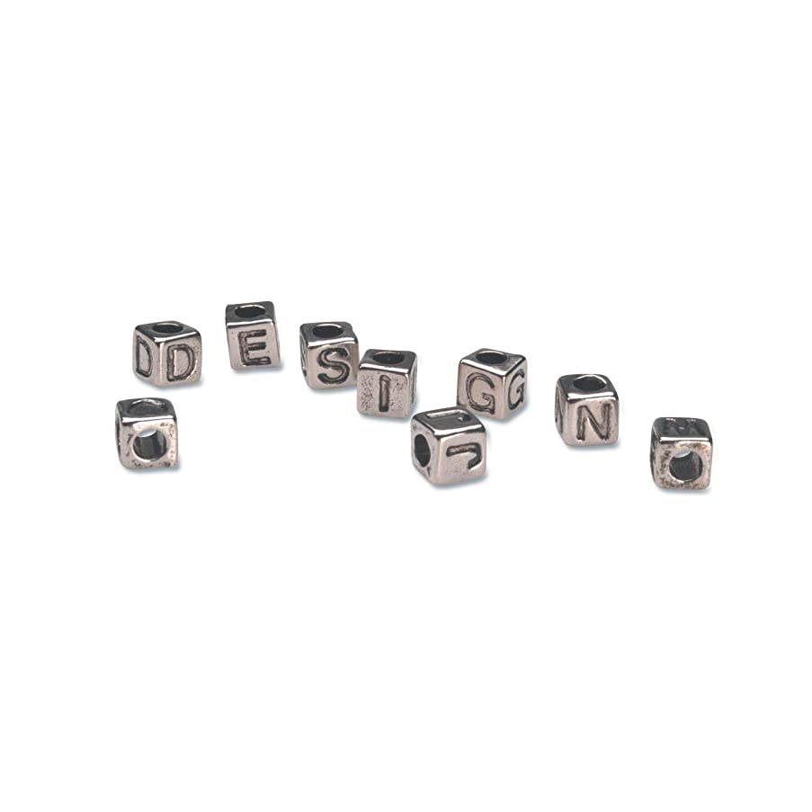 Bulk Buy: Darice DIY Crafts Alphabet Beads Vertical Hole Cube Silver with Black Letters 6mm (3-Pack) 1943-53