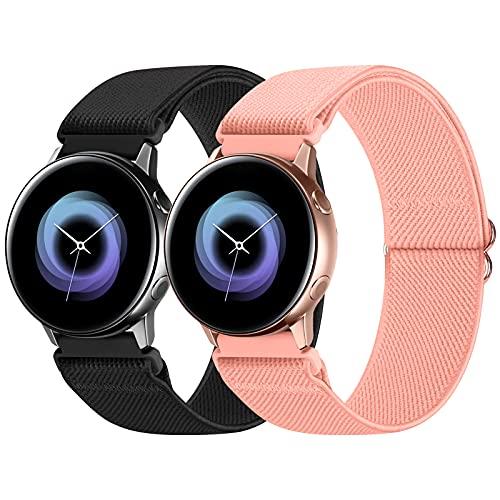 WNIPH 20 mm Pack 2 correas de reloj de nailon compatibles con Samsung Galaxy Watch Active 2 (40 mm/44 mm)/reloj 3 41 mm/reloj 42 mm/Gear S2, bandas de repuesto de tela elástica ajustable transpirable