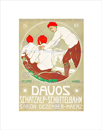 Wee Blue Coo Travel Winter Sport Slee Bob Davos Zwitserland Omlijst Muur Art Print