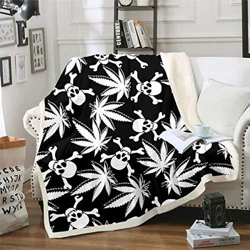 Manta de forro polar con diseño de calavera, diseño de hojas de cannabis, para niños, niñas, huesos góticos, manta de felpa botánica, color blanco y negro, para sofá cama, individual 126 x 152 cm