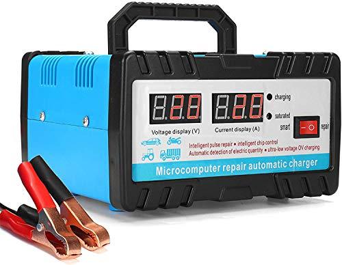 Cargador Baterias Coches, Car Battery Charger 12V/24V Mantenimiento Automático e Inteligente Múltiples Protecciones LCD para Automóvile, Motocicleta, ATVs, RVs, Powersports, Barco