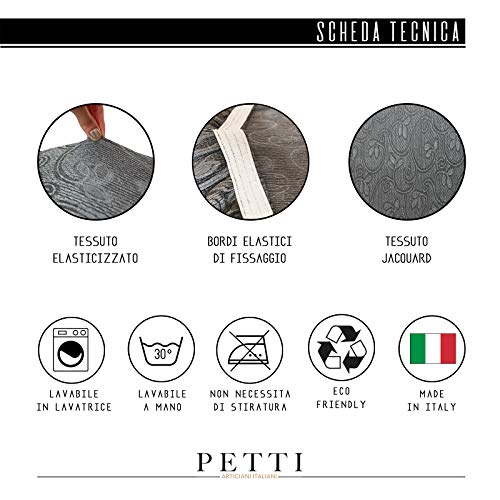 Petti Artigiani Italiani Copridivano Elasticizzato, Copripoltrona Grigio, Tessuto Jaquard, 100% Prodotto in Italia