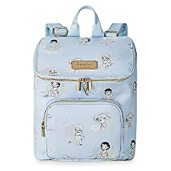 c0a79f77c1b Gorgeous baby blue backpack featuring lovely line drawings of the Disney  Princesses as little girls. Front pocket and polkadot lining.