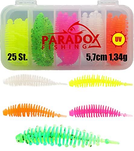 Paradox Fishing Forellenköder Gummi Set mit Box (25 St.) UV Forellenköder Gummi Gummiköder Forelle Forellen Angeln Spoon Set Forellenteig - Spoons Forelle (5,7cm - 1,34g)