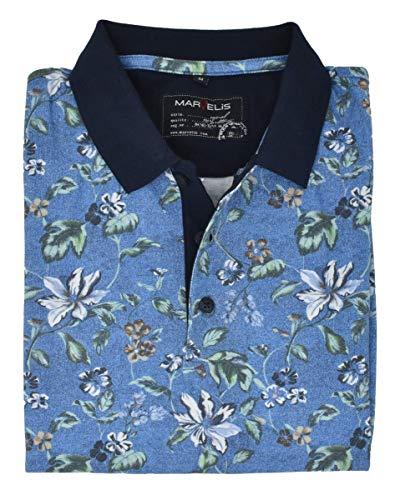 Marvelis Poloshirt Shirt Pique Polo Kurzarm 6433 52 18 blau geblümt, Größe:4XL