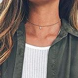 TseenYi Collar de cadena bohemio, gargantilla con diamantes de imitación, colgante vintage con circonita cúbica para mujeres y niñas (dorado)