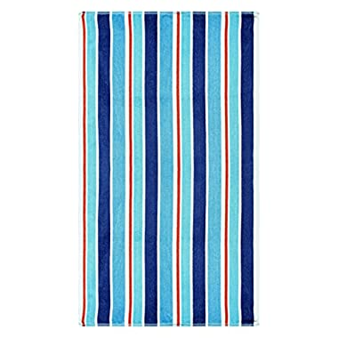 Superior Luxurious 100% Cotton Beach Towels, Oversized 34  x 64 , Soft Velour Cotton and Absorbent Cotton Terry, Thick and Plush Striped Beach Towels - Red, White, and Blue Ocean Stripes