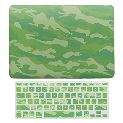 For MacBook Pro 13 Inch Case A1706, A198, A2159, Plastic Hard Shell Case & Keyboard Cover Compatible with MacBook Pro 13 Inch, Green Camouflage Pattern Laptop Protective Shell Set