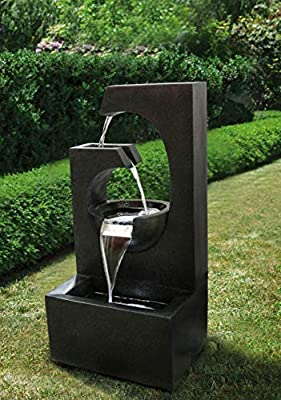 Zen Line Designs ZL-197004 32 Inch Tall 4-Tier Modern Water Fountain with LED-Indoor/Outdoor Water Fountain for Yard, Garden, Deck, Patio, Porch-Backyard Decor