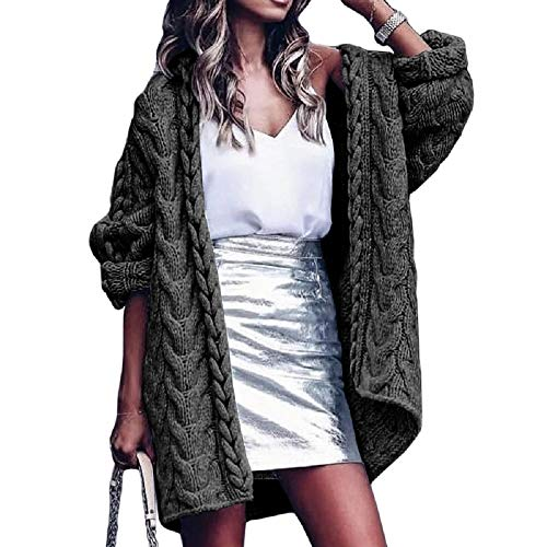 Cicy Bell Women's Open Front Chunky Knit Cardigan Long Sleeve Casual Cable Sweater Outwear Coats (Army Green,Medium)